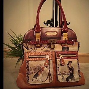EUC nicole Lee coffee shop satchel bag
